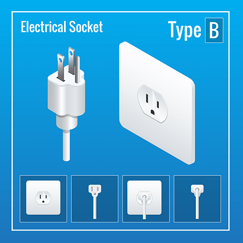 Japan power plug socket type B